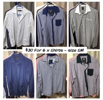 Men's clothing. Business & casual shirts, sportswear. Various prices