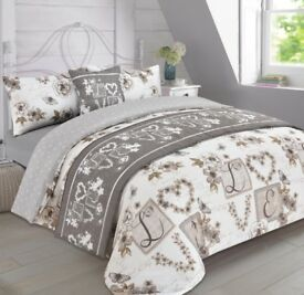NEW Millie Taupe Grey Hearts Compete Duvet Set