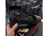 CHRISTIAN LOUBOUTIN BLACK WITH GOLD SPIKES