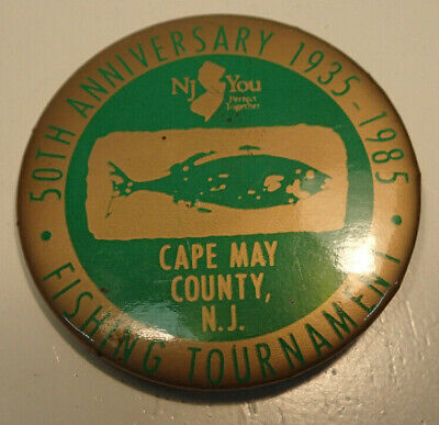 50th Anniversary 1935-1985 Fishing Tournament Cape May County NJ Pin