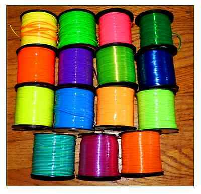 15 YDs Rexlace Gimp Boondoggle Plastic Lace ~ 15 BRIGHT Neon & Clear~ 1 YD Each  - Plastic Lacing
