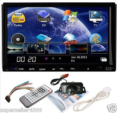 "7"" 2 Din In Dash Car Stereo DVD Player With TV Radio Tuner Bluetooth+Free CAMERA on Rummage"