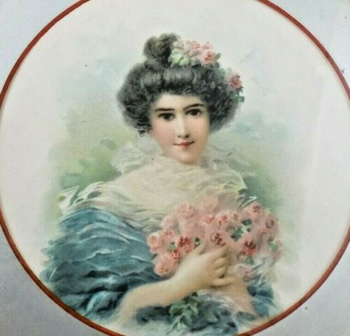 """Antique Glass Flue Cover Beautiful Victorian Girl holding Roses Litho 7.75"""""""