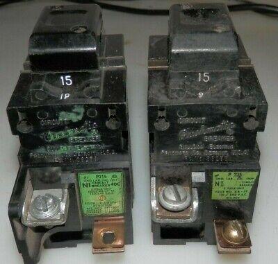 2 Ite Pushmatic P215 Circuit Breaker 15 Amp 120240 Vac Lot Of 2