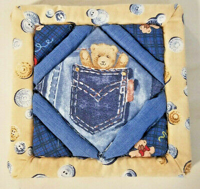 Darling Teddy Bear in Pocket - Fabric on Foam Craft - From the 1980's - 6