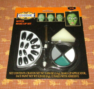Witch Make-Up Kit Face Paint, Nails, Adhesive, Crayon, Applicator, Sponge 5+