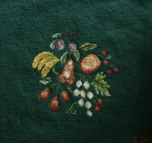 Fruit Bananas Pears Cherries Dark Green Needlepoint Completed Finished
