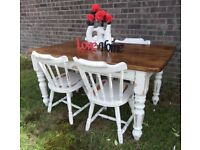 Reclaimed Shabby Chic 5' Farmhouse Pine Table & 4 Chairs UK Delivery