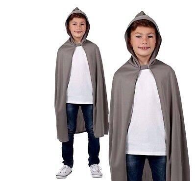 Child GREY HOODED CAPE Fancy Dress Halloween Gandalf Ghoul Medieval EGB-4110