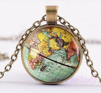 Vintage Cabochon Glass Necklace bronze charm chain pendants:retro world map ()