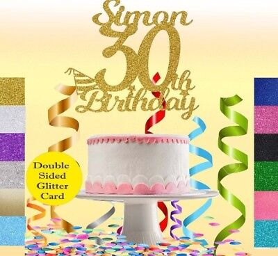 CUSTOM Glitter Cake Topper Personalised 16th,18th,21st,40th,50,60,30th Birthday - 30th Birthday Cake Toppers