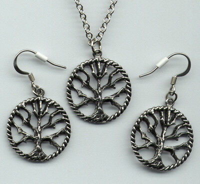Tree of Life Necklace Earrings Jewelry Gift Set Pewter Pendant Charm Celtic USA (Celtic Set Jewelry Set)