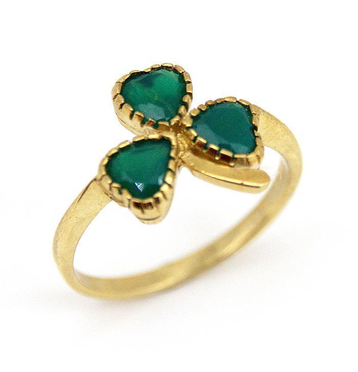Lucky Shamrock Ring Ladies 9ct Gold set with Agate Handmade in UK
