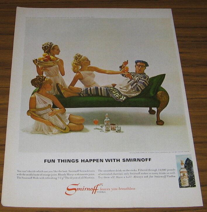 1967 Vintage Ad Smirnoff Vodka Actor Phil Silvers