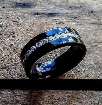 3 tcw Diamond Solid Black TITANIUM 8mm Wide Men's Wedding Band Ring Man size 11