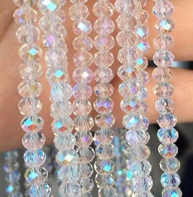 140 Stk weiß/klar Facettierte Glasperlen 4mm Kügelchen Kristall für DIY Schmuck