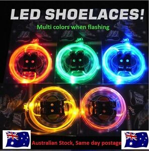 LED FLASHING SHOE LACES  SHOELACES  BOOT BAG BACKPACK Rainbow Multi-color OZ
