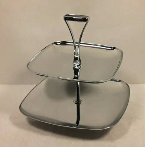 Vintage Milbern Two Tier Tid-Bit Serving Tray w/ Handle Chrome Holiday Party MCM