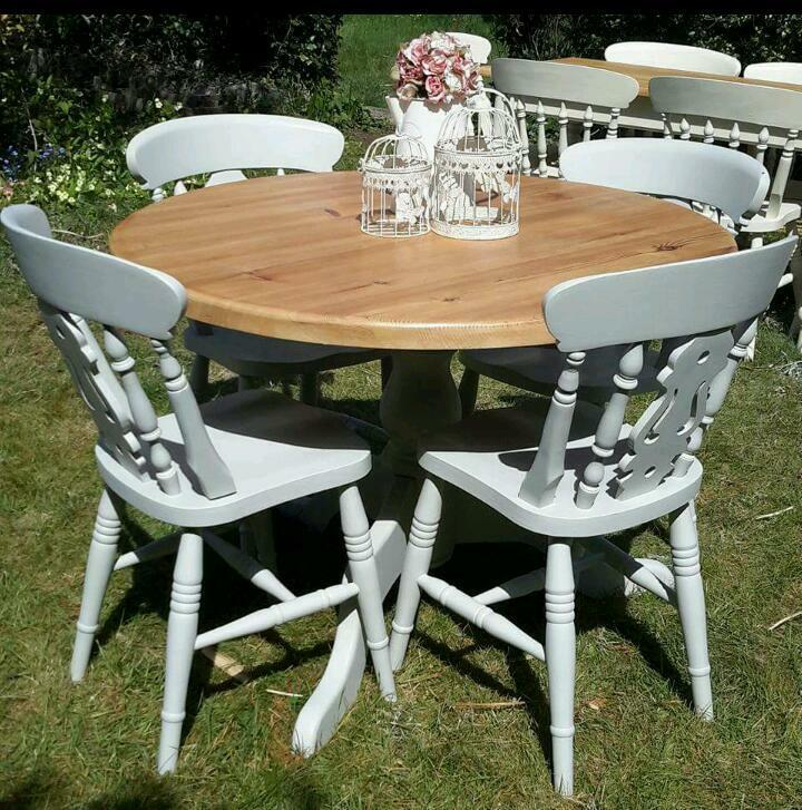 Shabby Chic Kitchen Table: Solid Pine Shabby Chic Farmhouse Round Kitchen Dining