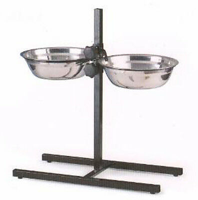 2 Quart Adjustable Raised Double Stainless Steel Dog Diner Bowls Food Water 676