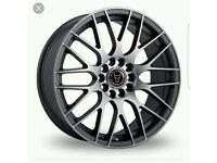"Brand new 17"" wolfrace eurosport bayern gun metal grey alloy wheels"