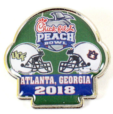 Official 2018 Chick Fil A Peach Bowl Pin Auburn Tigers Vs Ucf Knights