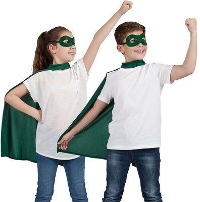 Kinder Halloween Superheld Kostüm Satz Umhang & Maske grün Kinder Mantel NEU W