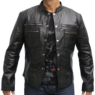 - Mens Fashion Pure Vintage Black Leather jacket With Four Zipped Chest Pockets