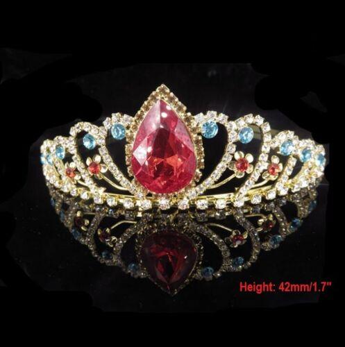 Colorful Bridal Princess Crystal Hair Tiara Wedding Crown Veil Headband Birthday