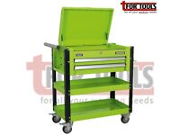 SEALEY AP760MHV HEAVY-DUTY MOBILE TOOL & PARTS TROLLEY 2 DRAWERS & LOCKABLE TOP - HI-VIS GREEN