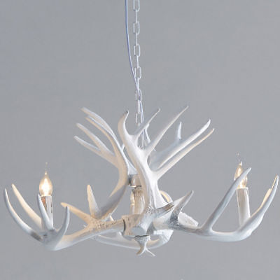 White Faux Antler Cascade One-Tier Foyer Ceiling Pendant Chandelier with 3 -