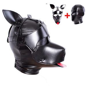2 in 1 PU Leather  Bondage Dog Hood Head Mask Headgear Slave