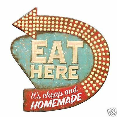 Eat Here Retro Wall Kitchen D Cor  15 L X 16 H  Die Cut Metal Diner Sign  New