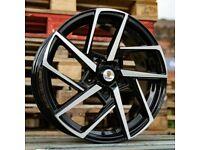 """Black Polished x4 17"""" Stuttgart ST21 Alloy Wheels Audi TT A3 A4 VW Golf Caddy"""