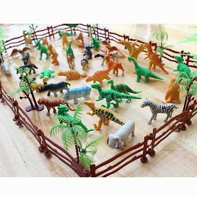 68pcs Plastic Zoo Safari Wild Animals Fence Tree Model Toys Figures Play Set