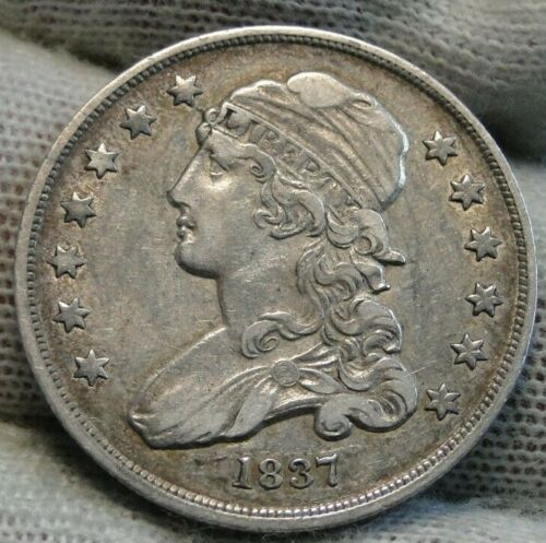 1837 Capped Bust Quarter 25 Cents - Nice Coin, Free Shipping. (9585)