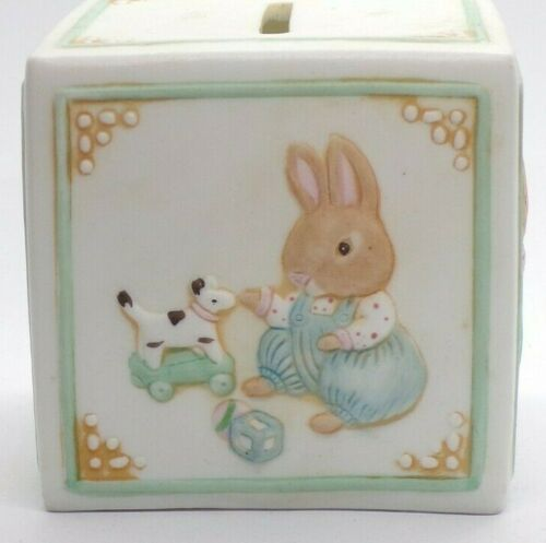 Bisque Porcelain Square Bunny Bank/ Hallmark Square Bank/ Childs Savings Bank
