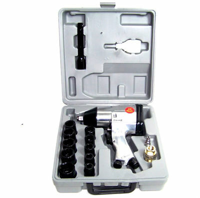 "1/2"" DRIVE AIR IMPACT WRENCH WITH 10 1/2 DR SOCKETS 1 EXTENSION BAR AIR TOOL"