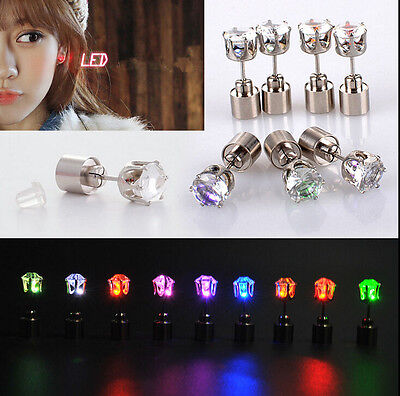 2PC Hot Light Up LED Bling Ear Studs Earrings Accessorie for Dance Party Fashion