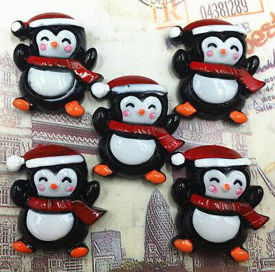 DIY 5/25/50/100pcs Christmas Penguin Flatback Resin Cabochon Scrapbooking/Crafts - Christmas Penguin