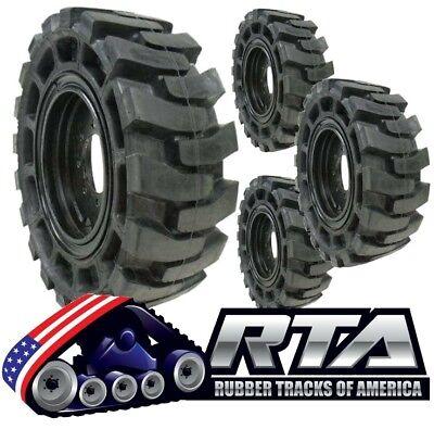 Set Of 4 Solid Skid Steer Tires Fits John Deere 8 Lug Flat Proof 12x16.5