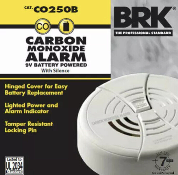 BRK 9V BATTERY-POWERED CARBON MONOXIDE DETECTOR With SILENCE FEATURE,Battery inc