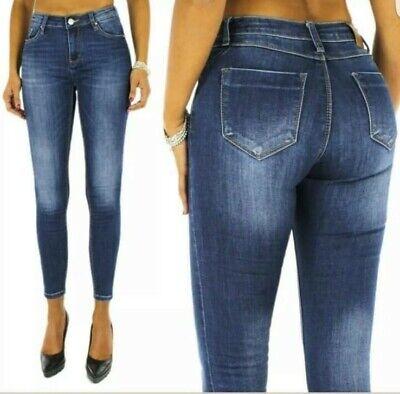 Jeans Donna blu pantaloni donna aderenti slim elasticizzato vita alta 42/50