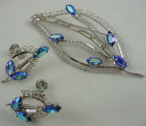 STAR ART Signed Vintage Sterling Silver Leaf Brooch Earring Blue Gemstone Set