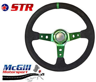 "STR 13"" 350mm Deep Dish Steering Wheel Drifting Rally Green Spars Black Suede"