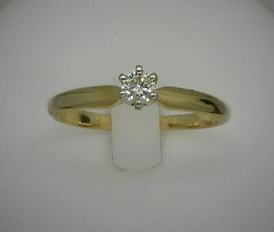 14K SOLID YELLOW GOLD SOLITAIRE ROUND CUT DIAMOND WEDDING ENGAGEMENT BAND RING