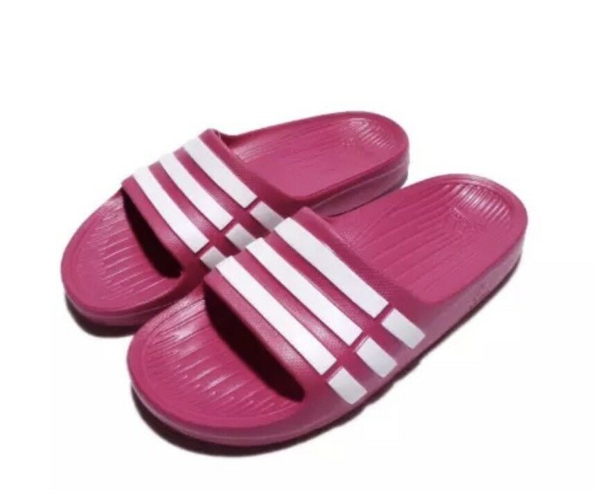 Adidas Kids Duramo Slides Sandals Pink White Girls Boys 11K