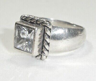 Silpada Sterling Silver Cubic Zirconia Elizabeth Ring R0836 Size 6 Rope .925