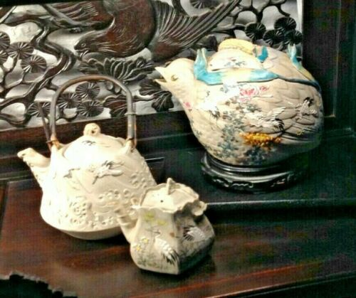 NEW PRICE! Exquisite Antique Japanese Banko Teapots w Cranes