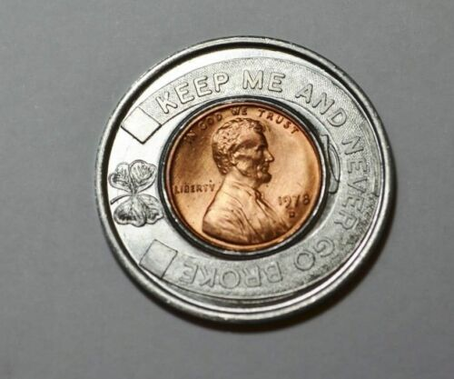 Encased Coin VINTAGE Keep Me and Never Go Broke 1978  Penny Westerville,Ohio